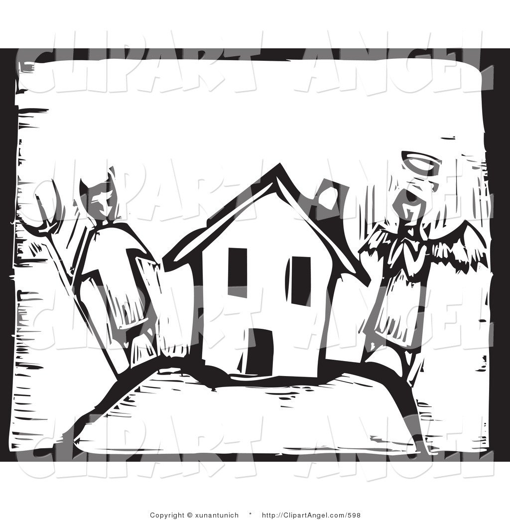 Illustration Of A Woodcut House Between Good And Bad By