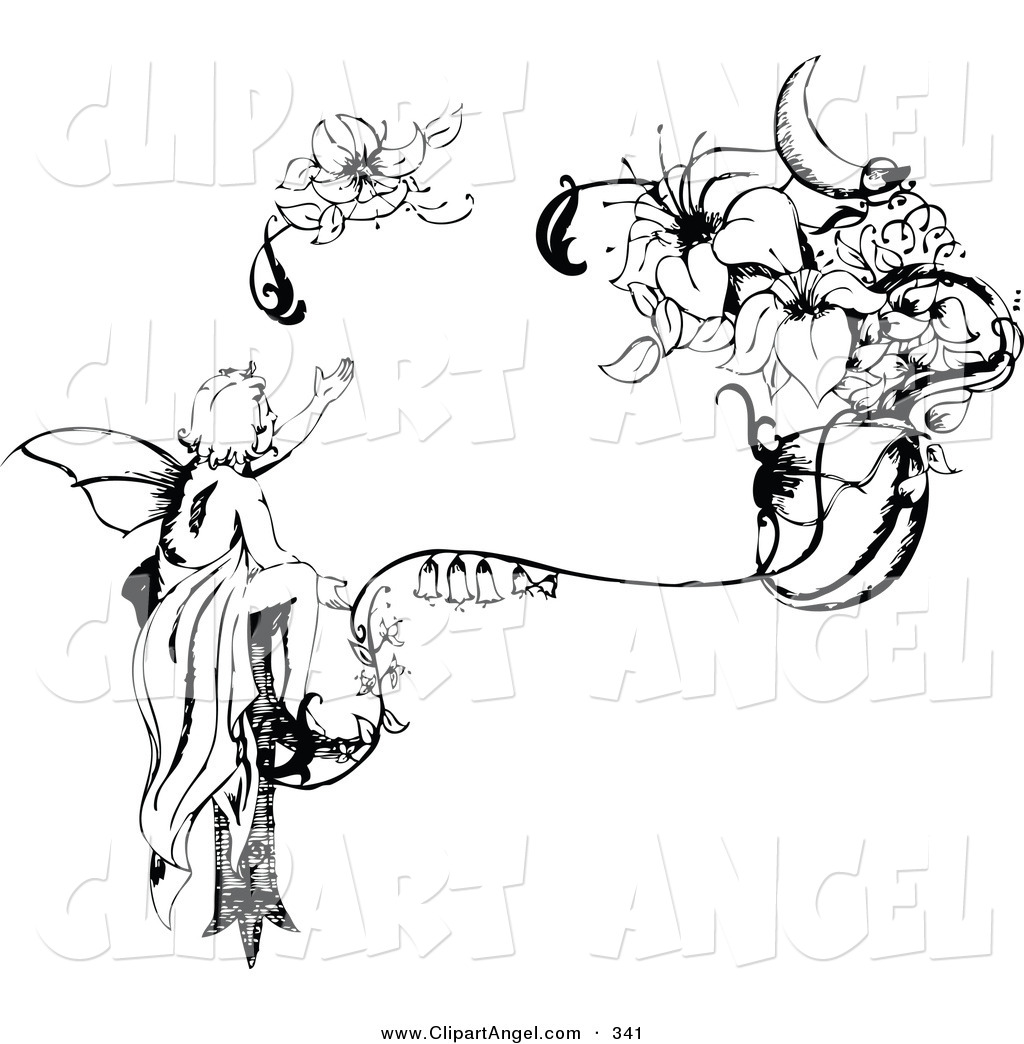 Illustration Vector Of An Black And White Injured Fairy