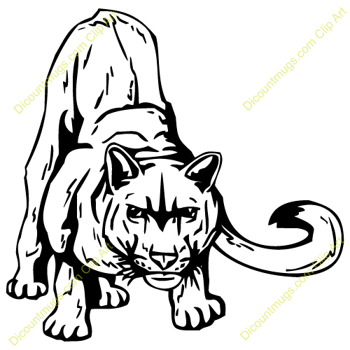 Library of angry cougar vector black and white library hd