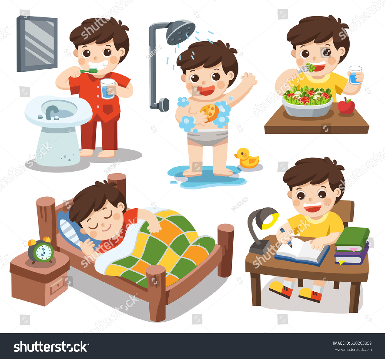 Library Of Bathroom Routine Clip Art Freeuse Stock