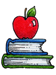 Library of books with apple picture transparent library