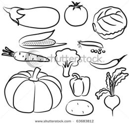 vegetables fruits clipart clip vegetable drawing drawings line basket silhouette vector animals various cliparts icons getdrawings try