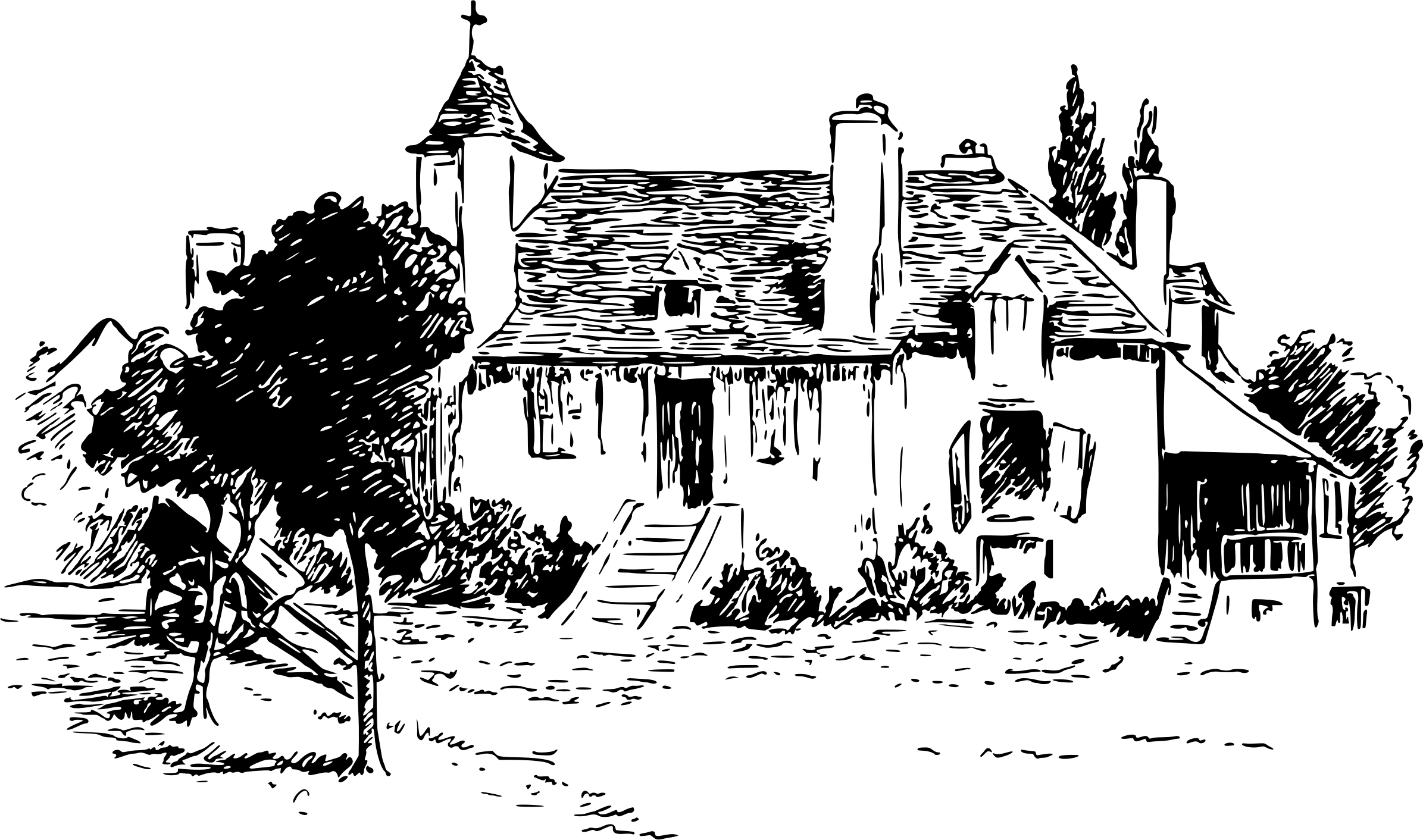 Library of old house vector royalty free library png files