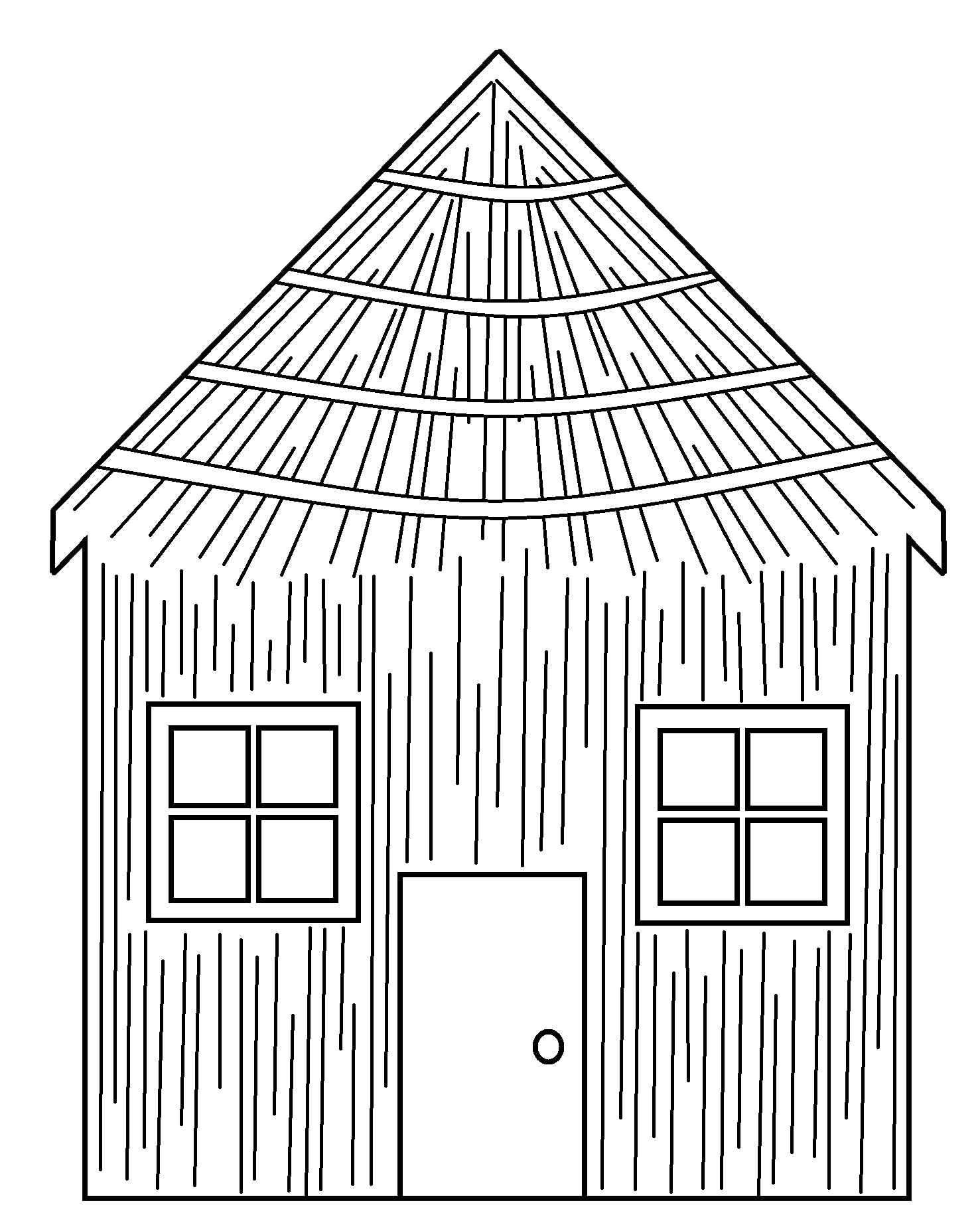 Library of straw house jpg royalty free black and white