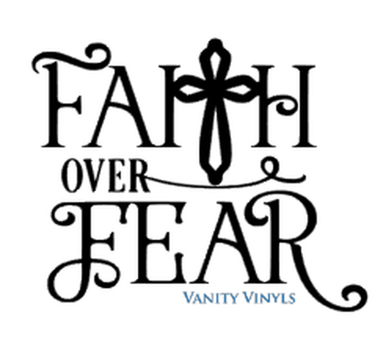 Library of faith over fear clip art black and white