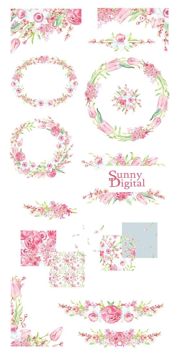 Rose And Pink Cream Vintage Clip Border Art