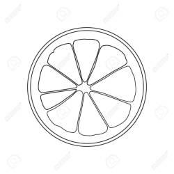 slice orange clipart outline lemon isolated round