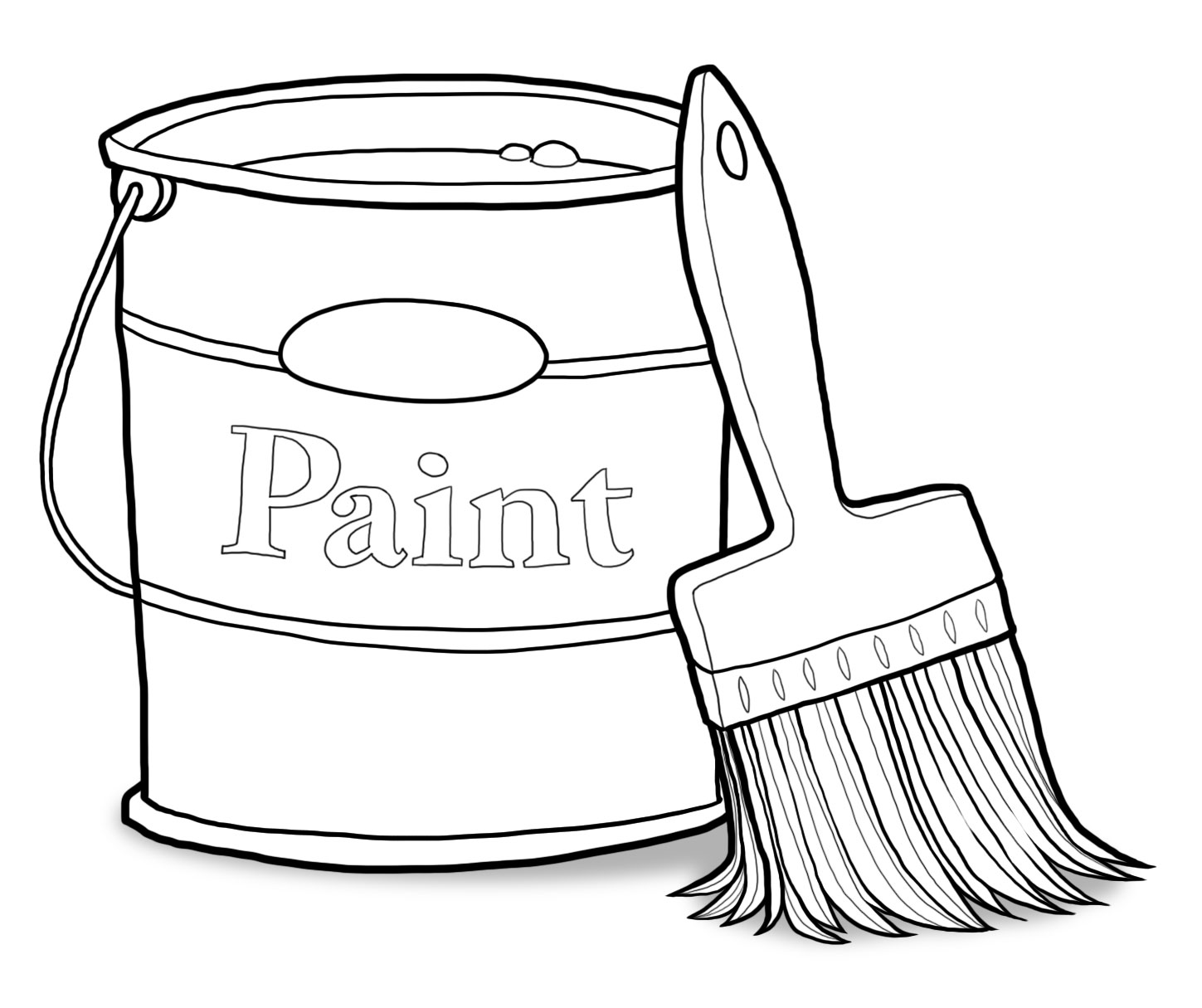 Library of paint can and brush jpg freeuse black and white