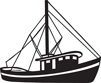 Library of shrimp boat vector black and white stock png