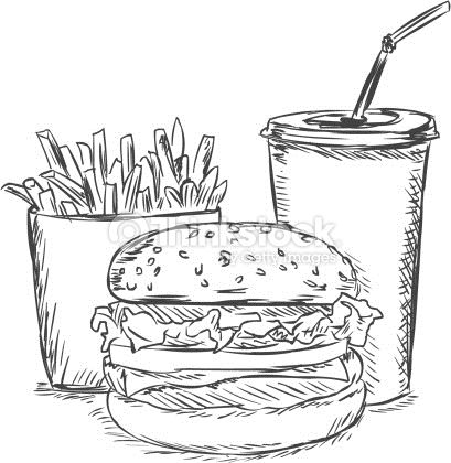 Library of simple burger and fries black and white clip