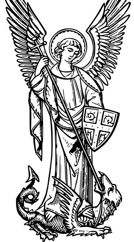 Library of st michael versus satan black and white png