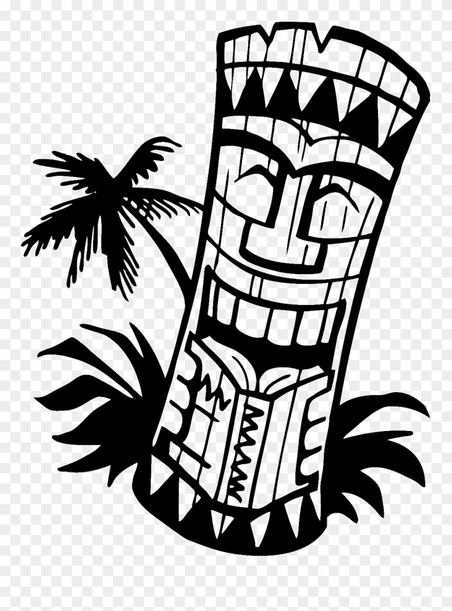 Library of tiki man banner black and white library