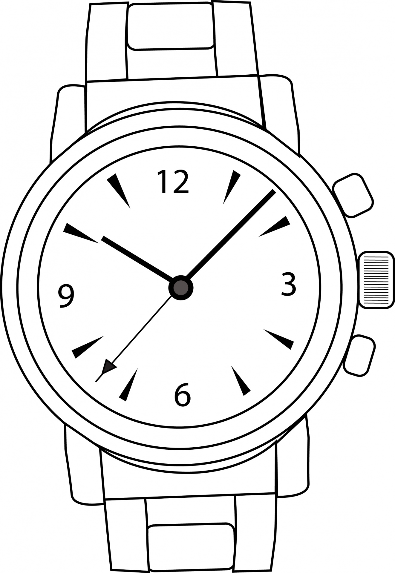 Library Of Wrist Watch Vector Graphic Black And White