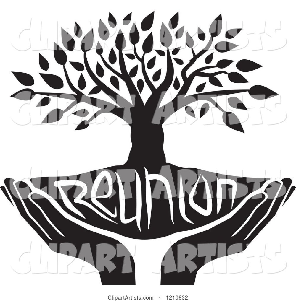 medium resolution of black and white family reunion tree and uplifted hands