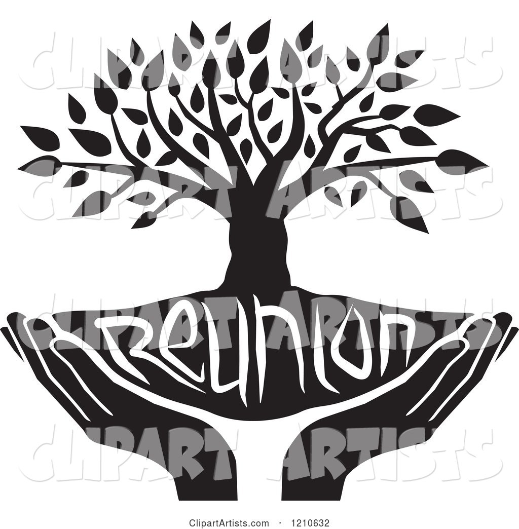 hight resolution of black and white family reunion tree and uplifted hands
