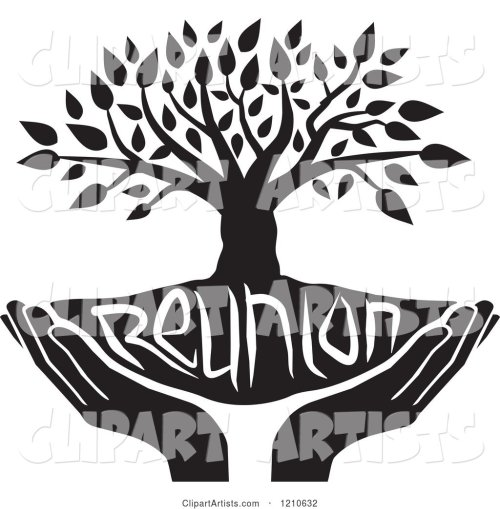 small resolution of black and white family reunion tree and uplifted hands