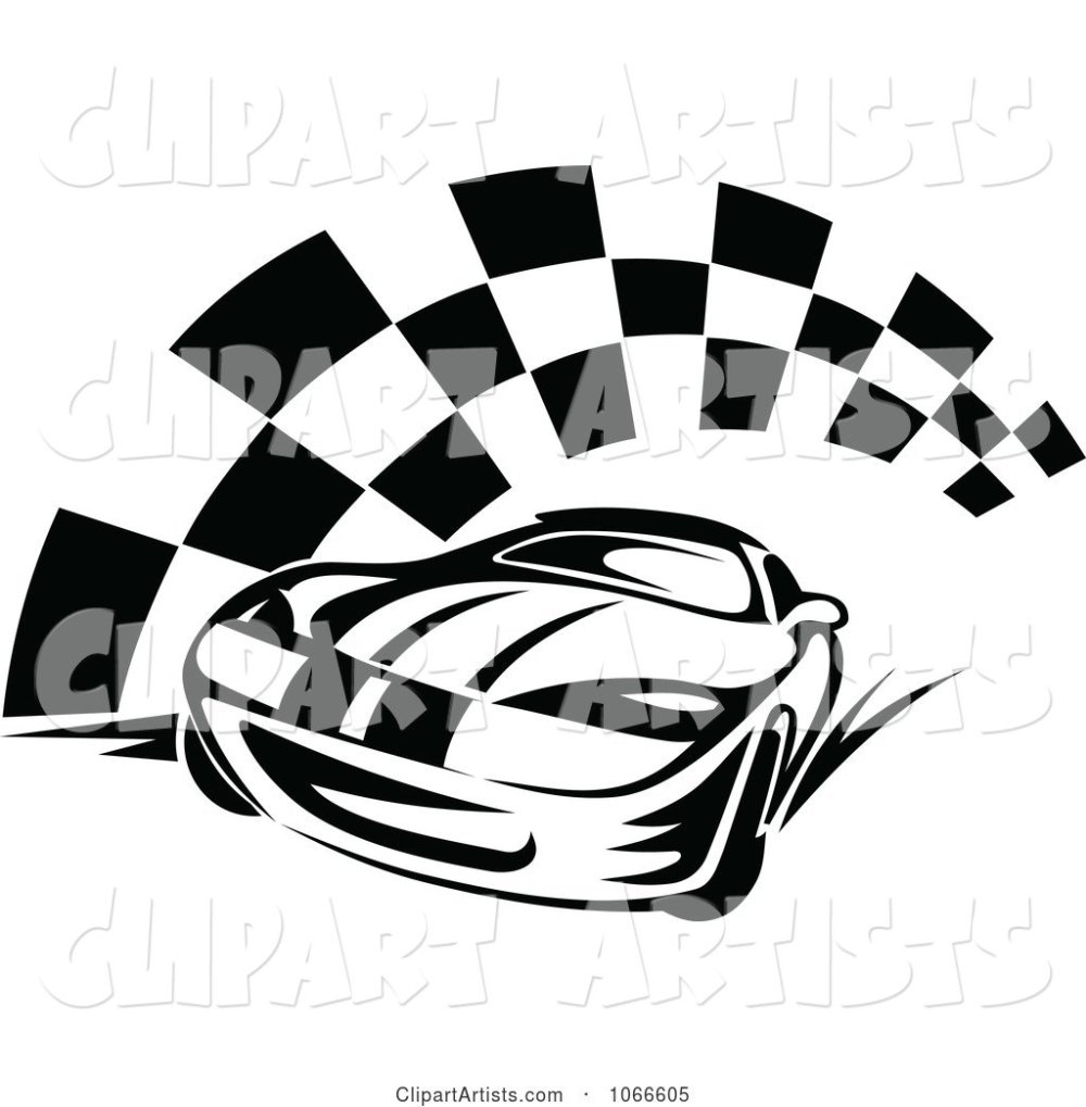 medium resolution of black and white race car and checkered flag 2