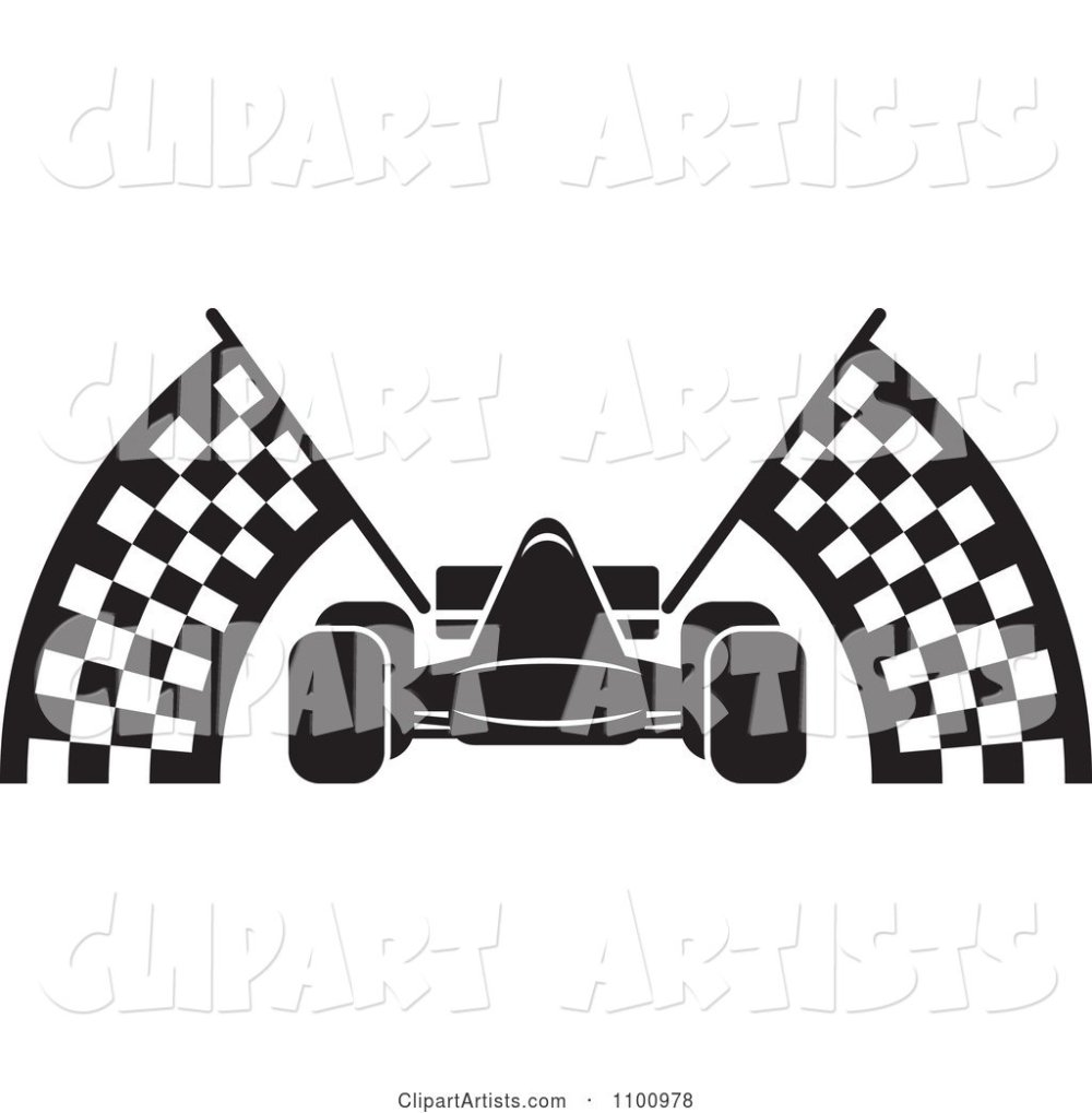 medium resolution of black and white race car with checkered flags