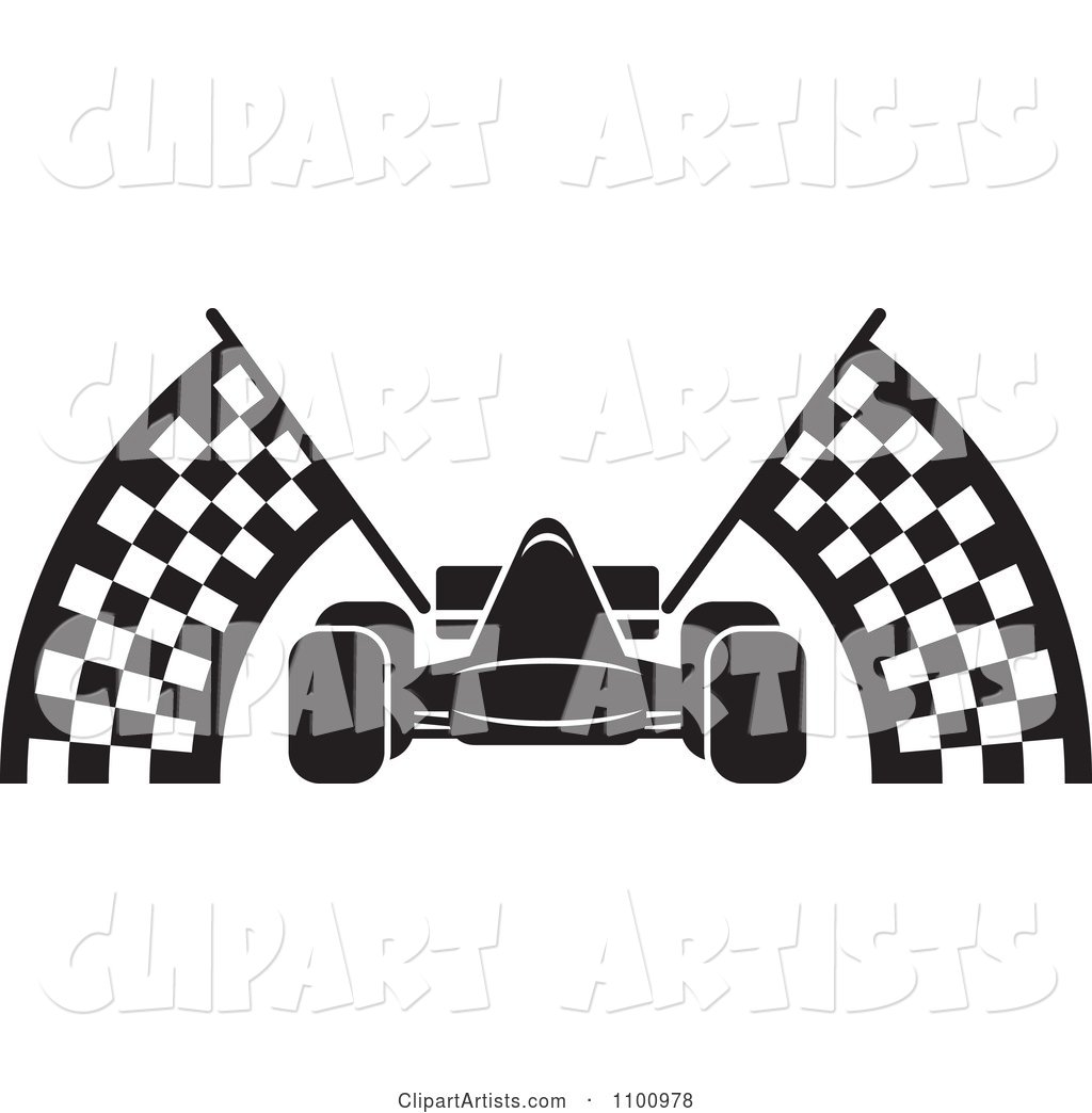 hight resolution of black and white race car with checkered flags