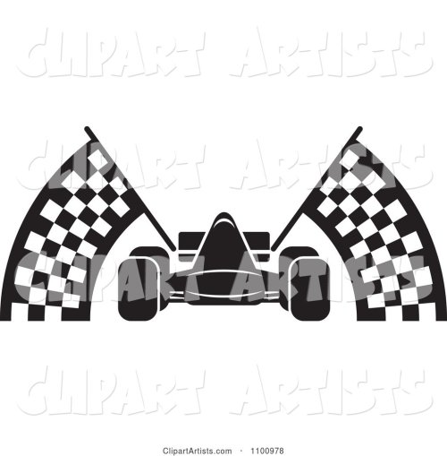 small resolution of black and white race car with checkered flags