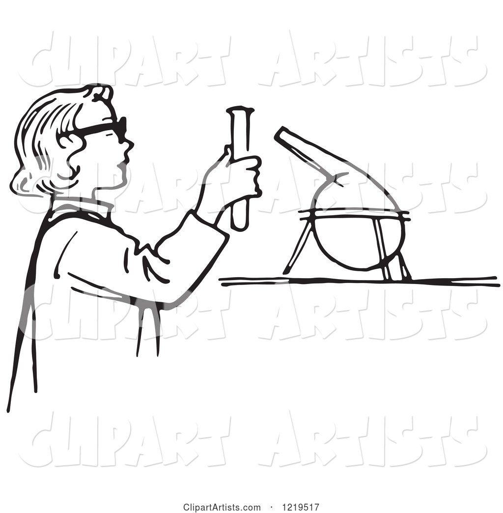 Black And White Retro Teen Girl Conducting A Science
