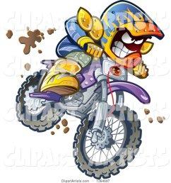 cartoon aggressive man jumping and riding a dirt bike with mud splashing everywhere [ 1024 x 1044 Pixel ]