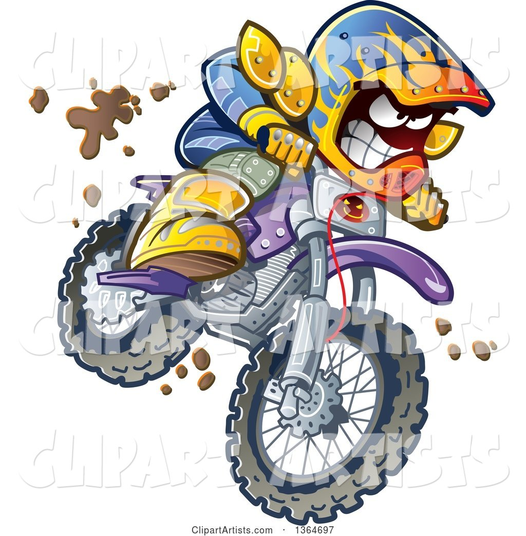 hight resolution of cartoon aggressive man jumping and riding a dirt bike with mud splashing everywhere