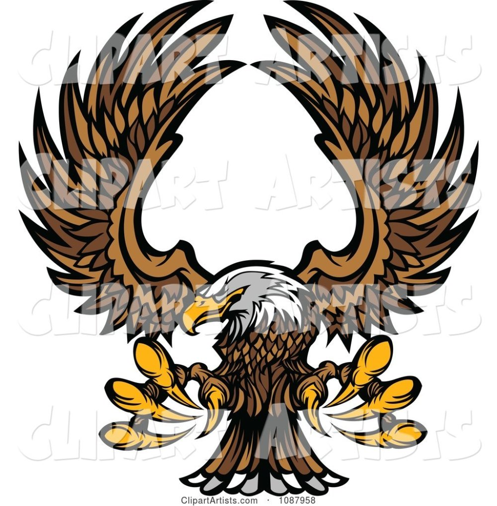 medium resolution of flying bald eagle mascot with extended talons