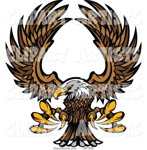 small resolution of flying bald eagle mascot with extended talons