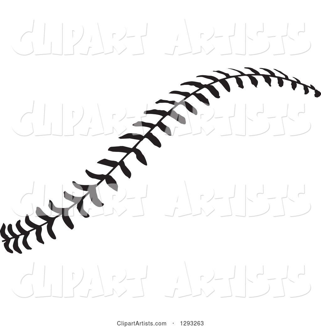 Horizontal Black And White Baseball Stitching Clipart By
