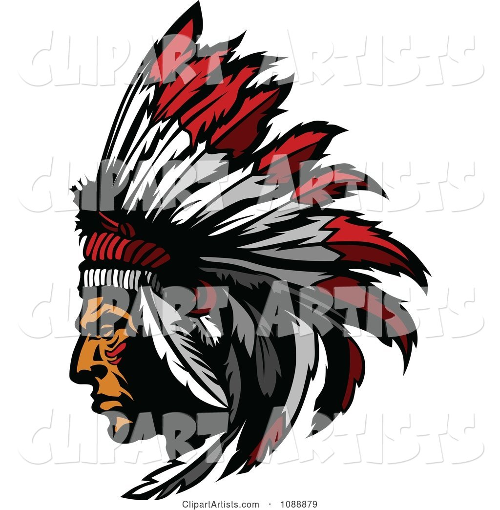 hight resolution of native american indian chief and feather headdress mascot