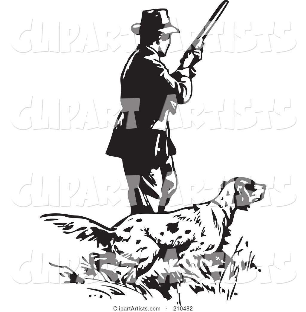 Retro Black And White Man With A Hunting Dog Clipart By