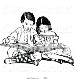 vector vintage black and white brother and sister reading a book by prawny vintage artist 178 [ 1024 x 1044 Pixel ]