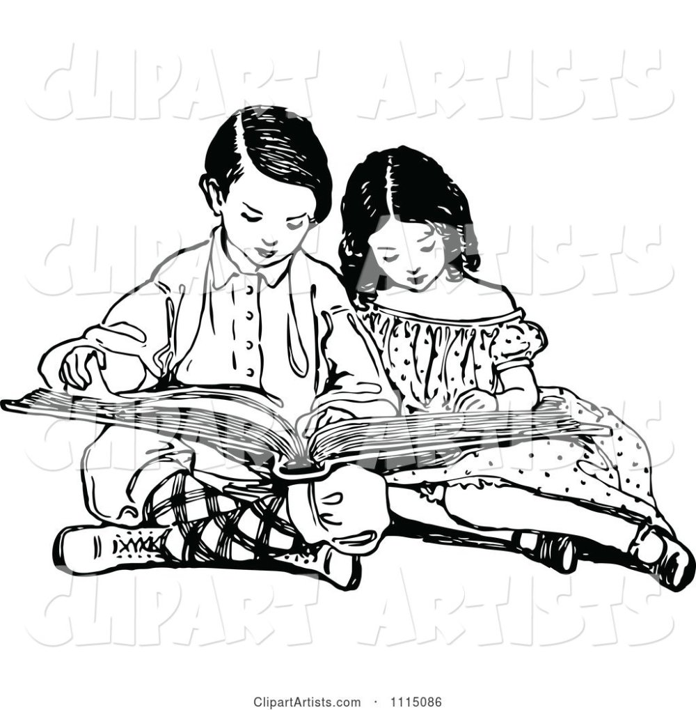 medium resolution of vector vintage black and white brother and sister reading a book by prawny vintage artist 178