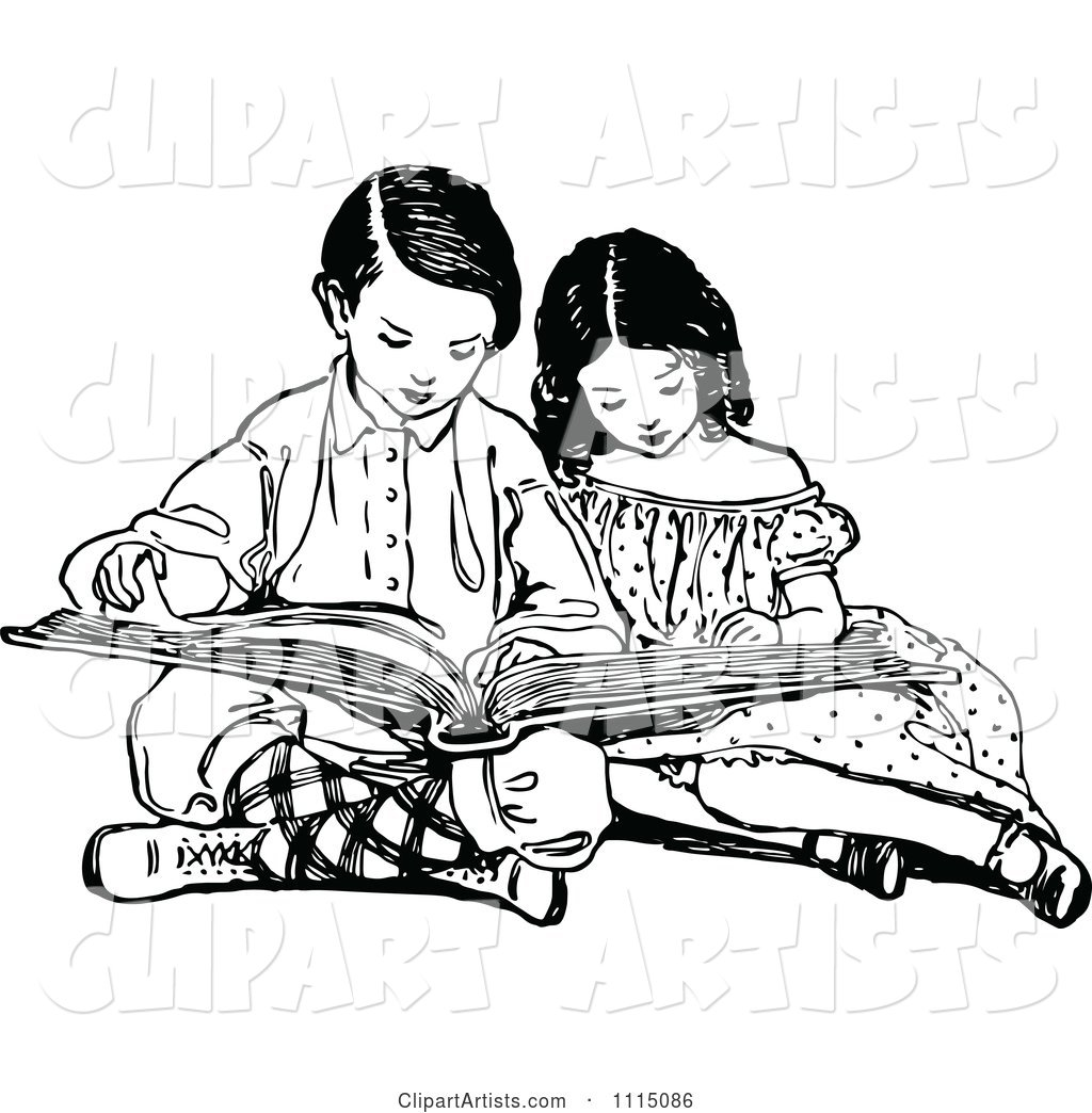 hight resolution of vector vintage black and white brother and sister reading a book by prawny vintage artist 178