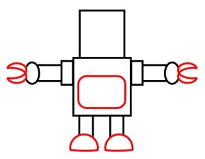 robot draw cartoon outline simple drawing step robots drawings funny clipart cartoons cliparts computer designs