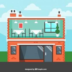 vector restaurant building flat exterior interior cartoon inside premium clipart freepik window clip designs