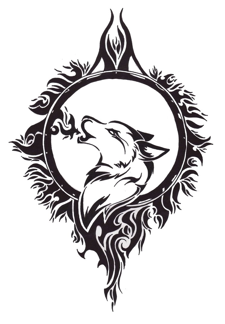 Tribal Wolf And Moon Drawing : tribal, drawing, Tribal, ClipArt