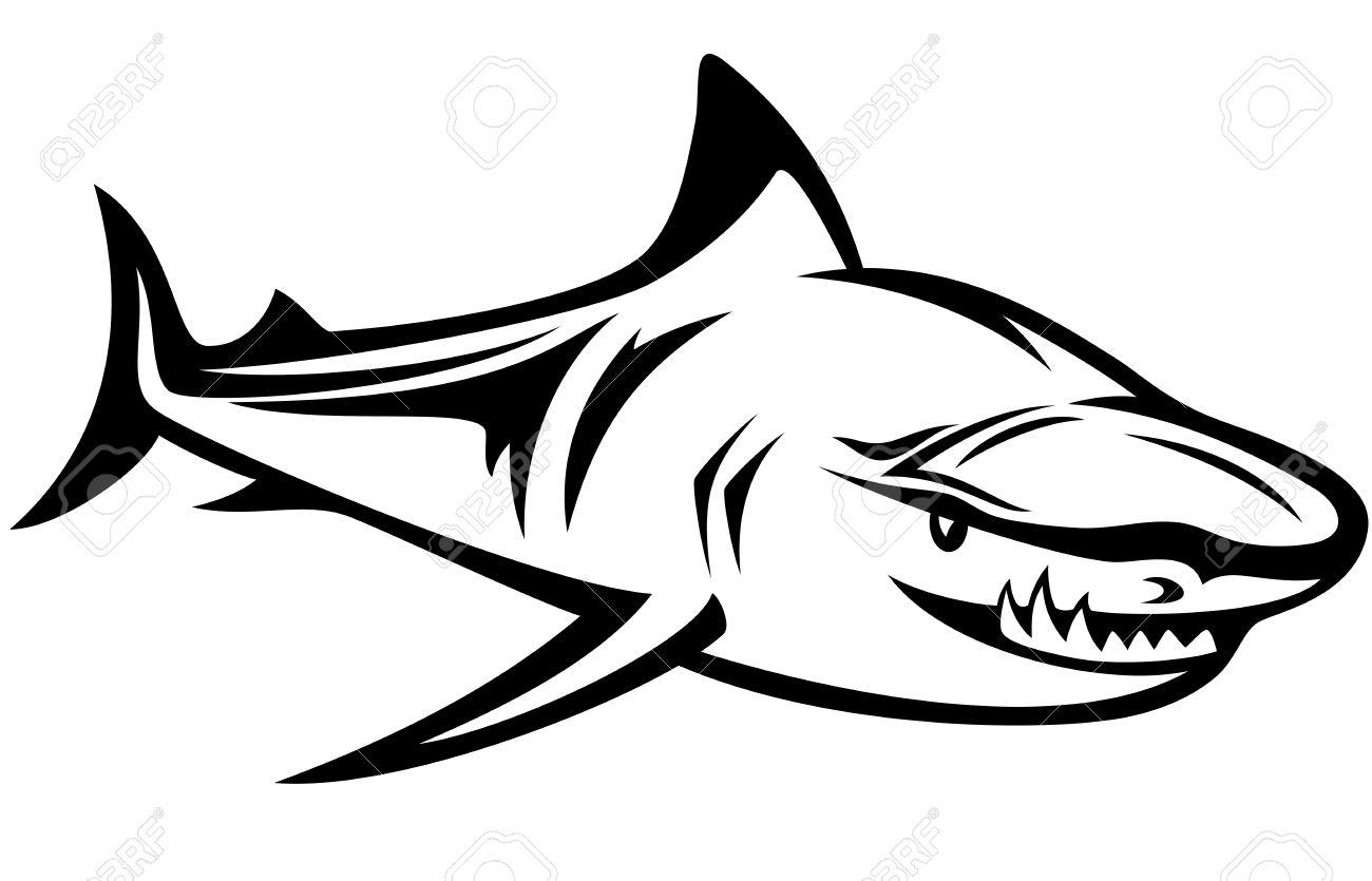 Great White Shark Outline  Clipart Best