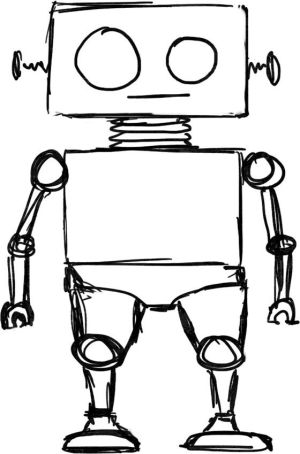 robot simple clipart easy outline doodle drawing robots drawings sketch line pencil cartoon designs cliparts hand background building moziru discover