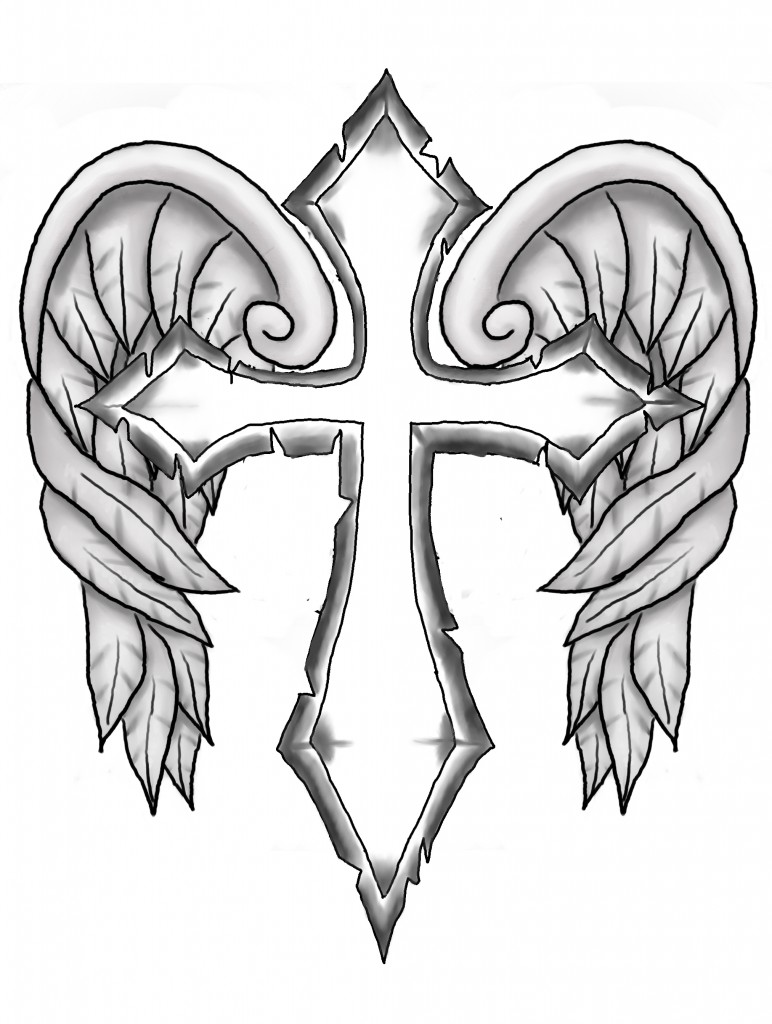 Cross With Angel Wings Drawing : cross, angel, wings, drawing, Cross, Wings, ClipArt