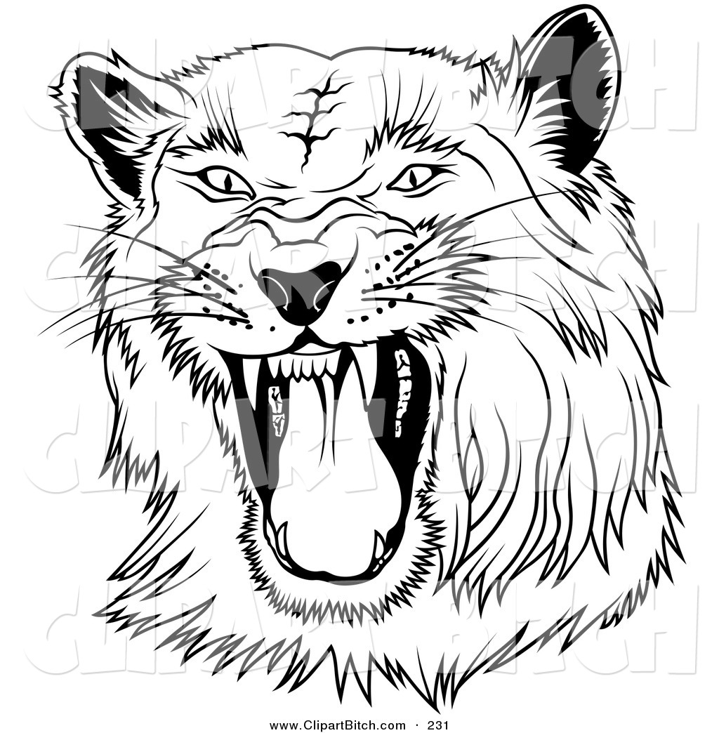 Clip Art Of A Black And White Hissing Panther On A White