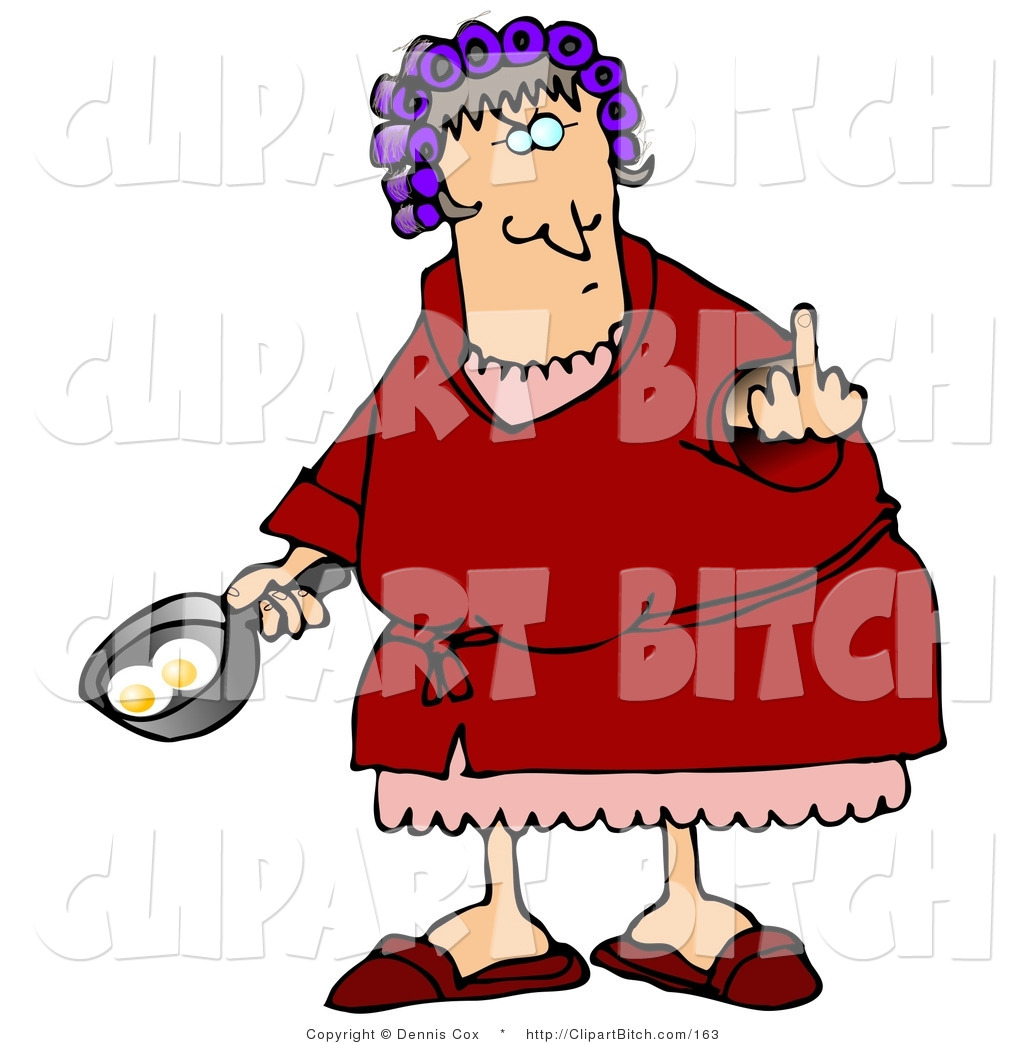 hight resolution of clip art of a mad female caucasian a wife with her hair up in curlers holding a frying pan with two eggs in it and flipping off her husband