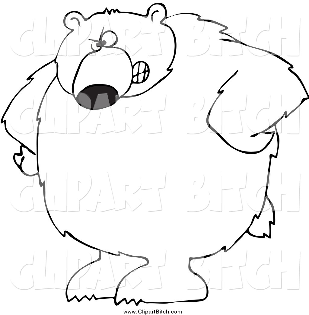 Clip Vector Cartoon Art Of A Black And White Bear With His