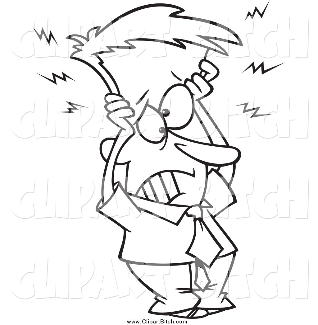 Clip Vector Cartoon Art Of A Black And White Frazzled