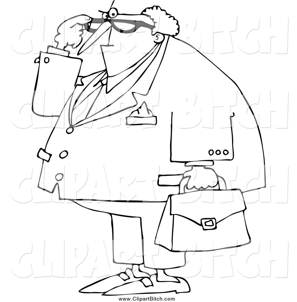 Clip Vector Cartoon Art Of A Black And White Old Attorney