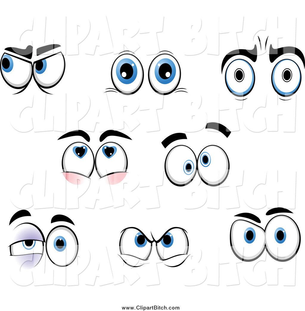 Larger Preview Clip Vector Cartoon Art Of Emotional Eyes