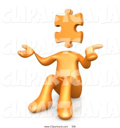 clip art of a 3d orange person with a jigsaw puzzle piece head sitting and shrugging symbolizing uncertainty or confusion [ 1024 x 1044 Pixel ]
