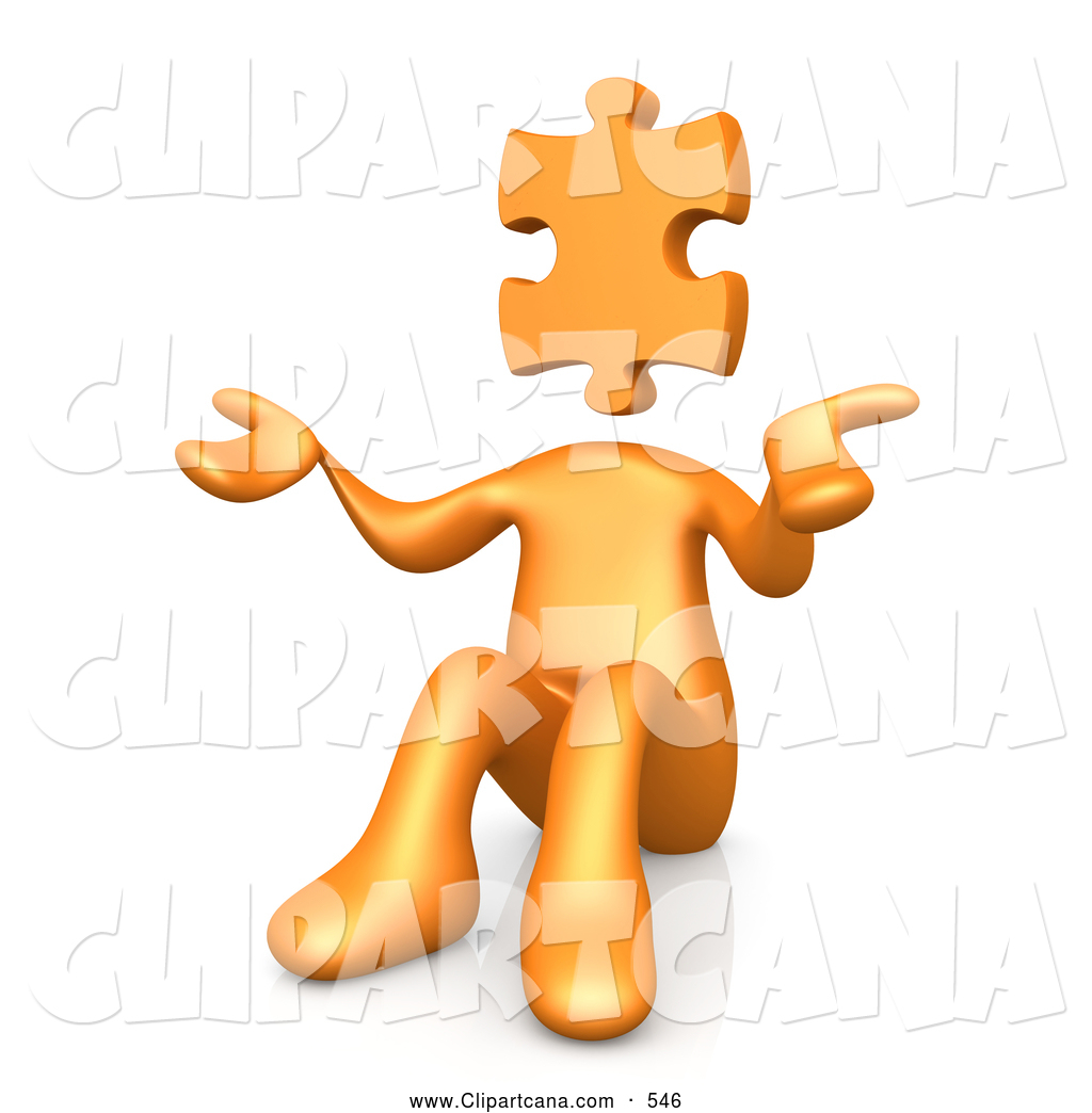 hight resolution of clip art of a 3d orange person with a jigsaw puzzle piece head sitting and shrugging symbolizing uncertainty or confusion