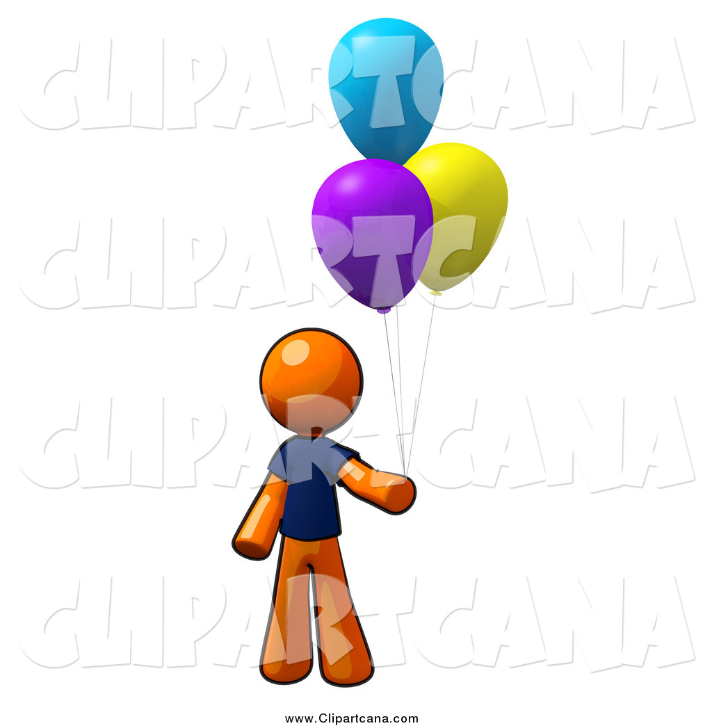 hight resolution of clip art of a orange man with colorful party balloons